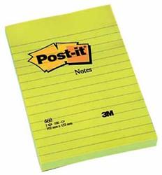 Post-it Notes, ft 102 x 152 mm, geel, gelijnd, blok van 100 vel