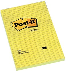 Post-it Notes, ft 102 x 152 mm, geel, geruit, blok van 100 vel