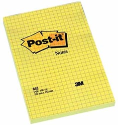 Post-it Notes, ft 102 x 152 mm, geel, geruit, blok van 100 vel