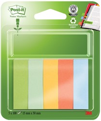 Post-it Notes Markers gerecycleerd, ft 15 x 50 mm, geassorteerde kleuren, blister met 5 x 100 vel