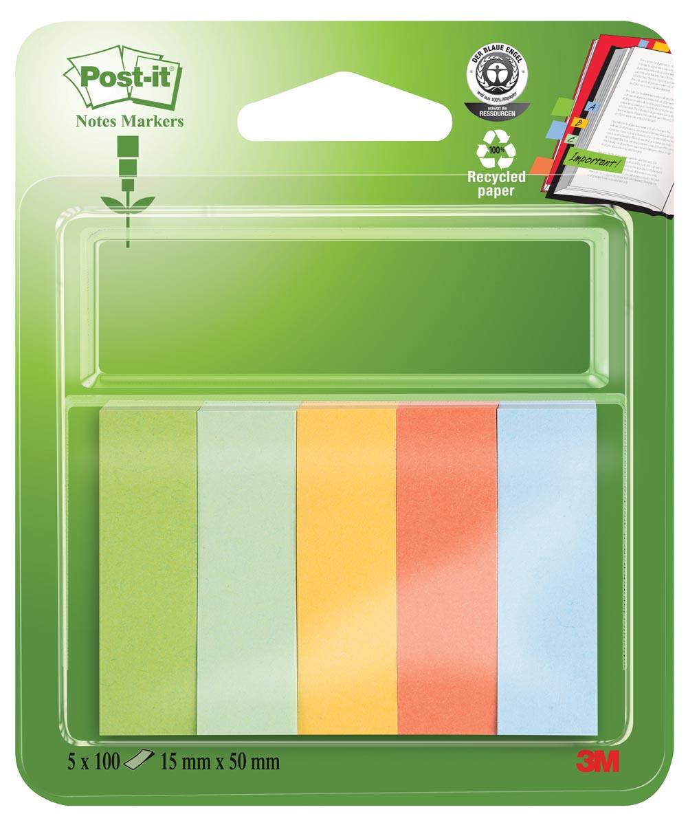 Post-it Notes Markers gerecycleerd, ft 15 x 50 mm, geassorteerde kleuren, blister met 5 x 100 vel