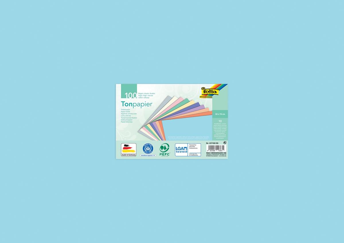 Folia gekleurd tekenpapier pastel, pak van 100