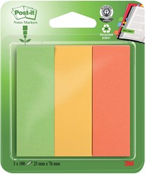 Post-it Notes Markers gerecycleerd, ft 25 x 76 mm, geassorteerde kleuren, blister met 3 x 100 vel