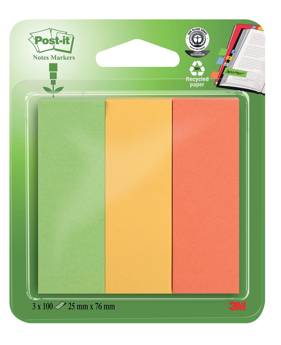Post-it Notes Markers gerecycleerd, ft 25 x 76 mm, geassorteerde kleuren, blister met 3 x 100 vel