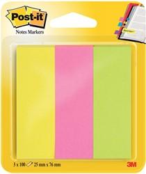 Post-it notes markeerstroken, ft 25 x 76 mm, neon geassorteerde kleuren, blister met 3 x 100 vel