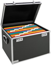 Leitz afsluitbare opbergkoffer voor hangmappen, ft A4, chroom/zwart