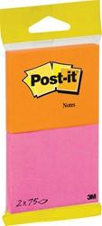 Post-it Notes Joy, 75 blaadjes, ft 76 x 63,5 mm, pak van 2 blokken