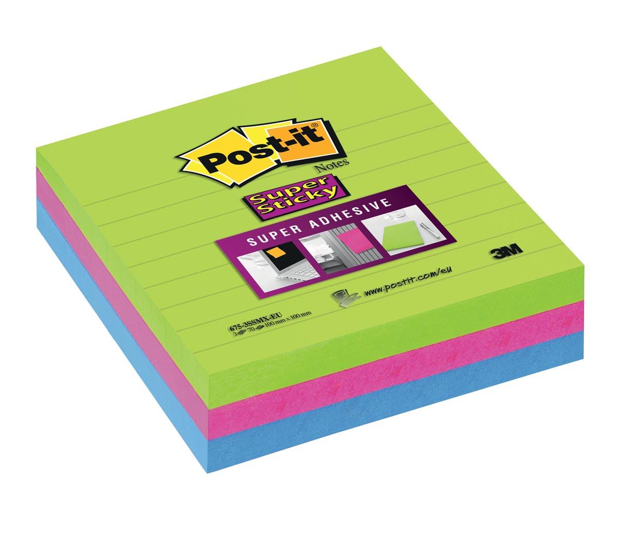 Post-it Super Sticky notes, ft 100 x 100 mm, 70 vel per blok, pak van 3 blokken in geassorteerde kle