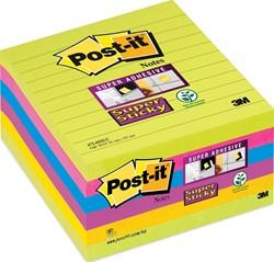 Post-it Super Sticky Z-Notes, geassorteerde kleuren, ft 101 x 101 mm, 90 vel, pak van 6 blokken