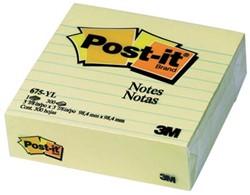 Post-it Notes, ft 100 x 100 mm, geel, gelijnd, blok van 300 vel