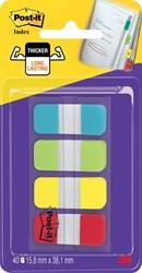 Post-it index Strong, ft 15,8 x 38,1 mm, blister met 4 kleuren, 10 tabs per kleur