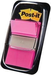 Post-it Index standaard, ft 25,4 x 43,2 mm, roze, houder met 50 tabs