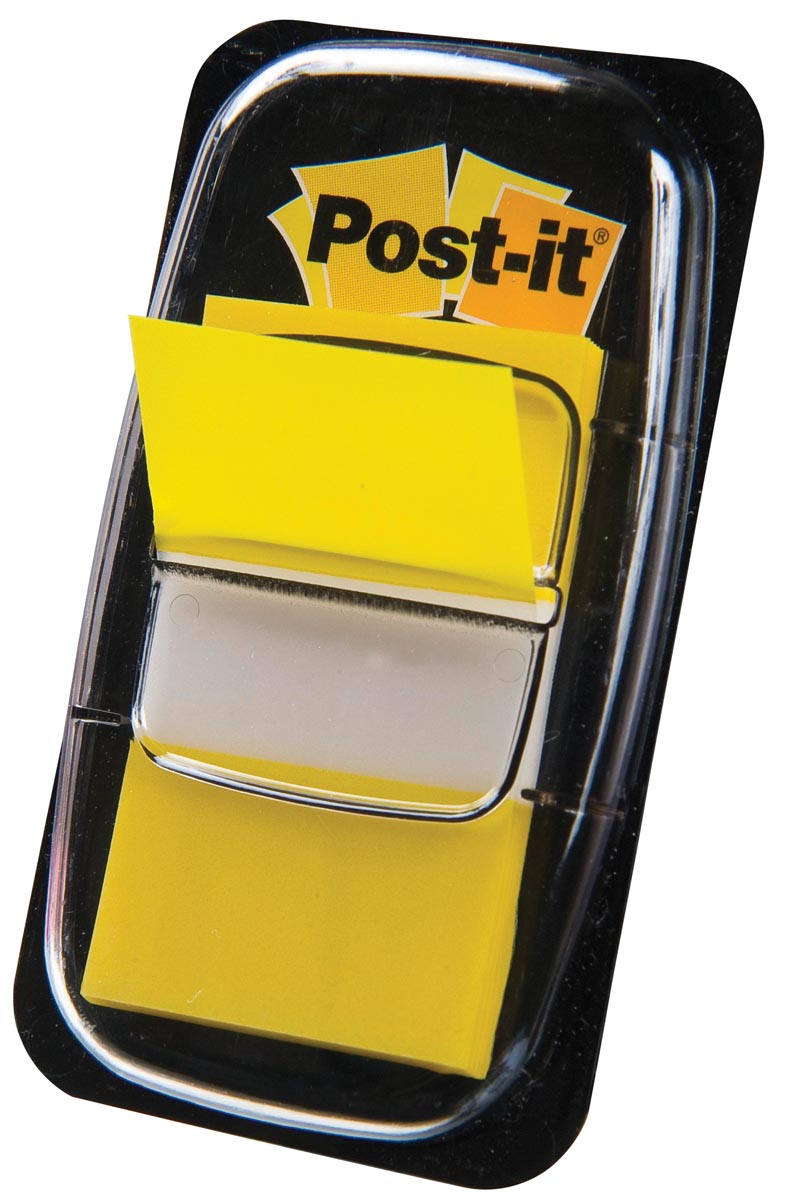 Post-it Index standaard, ft 25,4 x 43,2 mm, geel, houder met 50 tabs