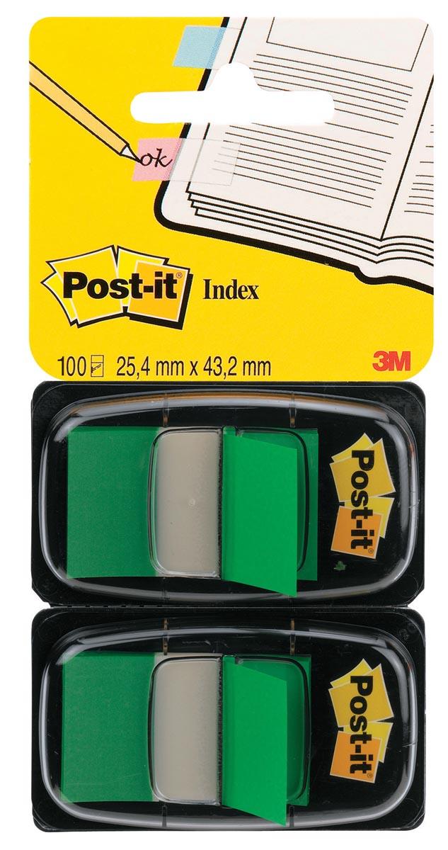 Post-it Index Standaard, ft 25,4 x 43,2 mm, groen, blister van 2 stuks