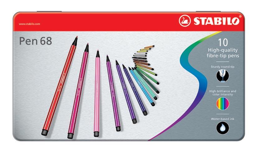 STABILO Pen 68 viltstift, metalen doos van 10 stiften in geassorteerde kleuren