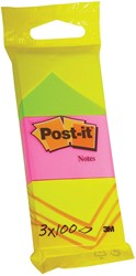 Post-it Notes, ft 38 x 51 mm, 100 vel, blister van 3 blokken in neon geel, roze en groen