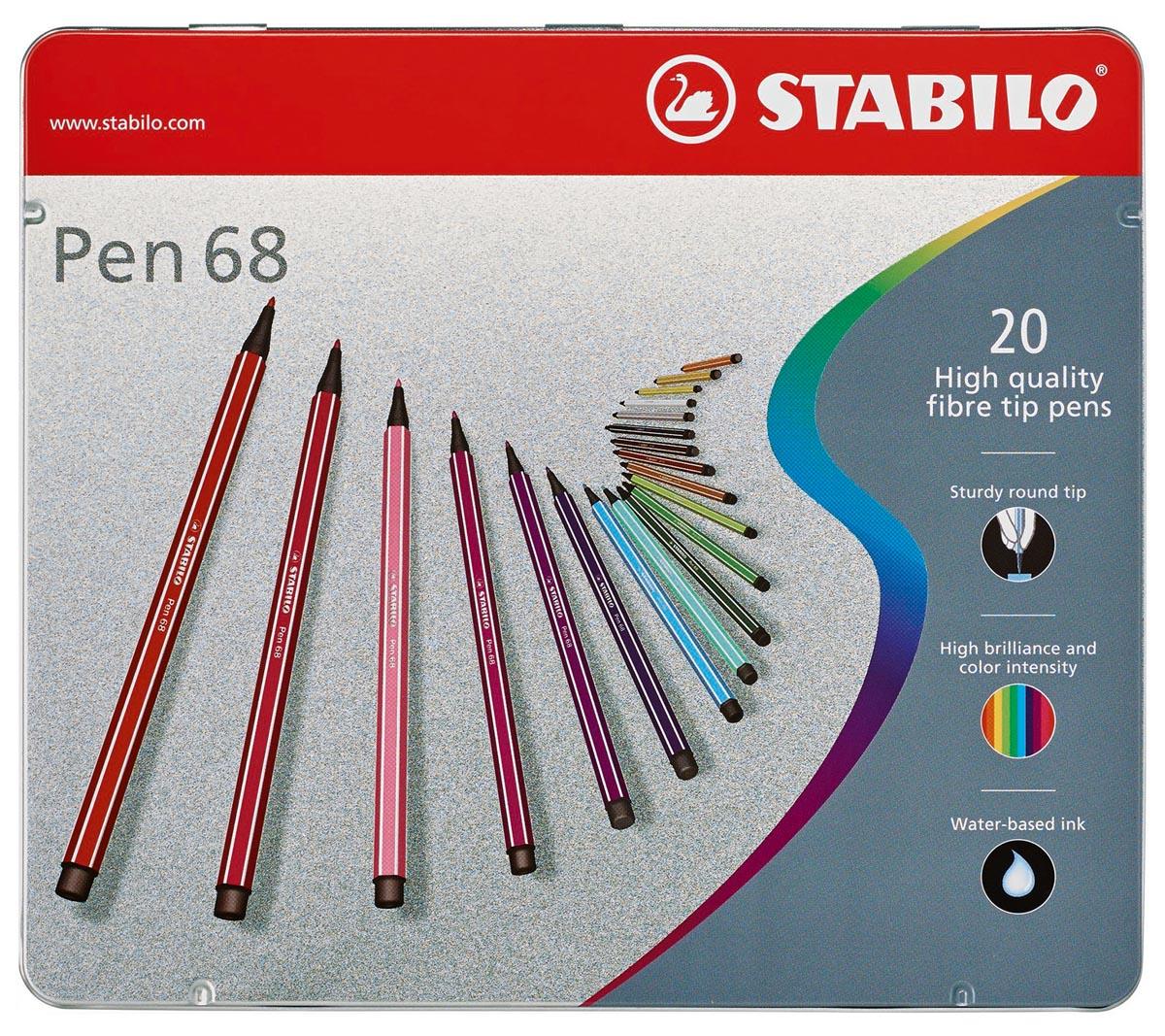 STABILO Pen 68 viltstift, metalen doos van 20 stiften in geassorteerde kleuren