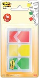 Post-it Index Pijltjes, voor ft 23,8 x 43,2 mm, blister met 3 x 20 tabs, geel, rood, groen