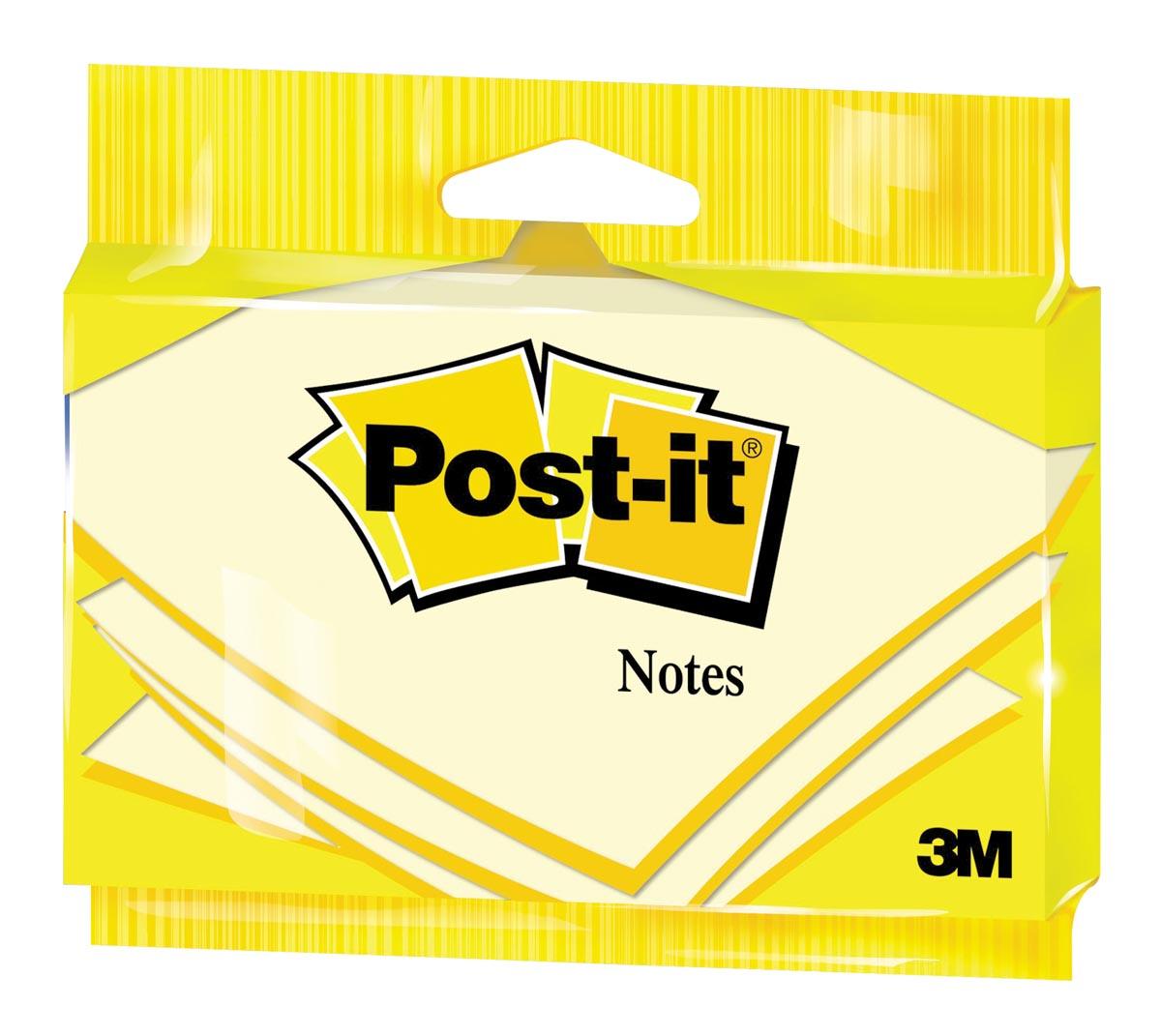 Post-it Notes, ft 76 x 127 mm, geel, blok van 100 vel, op blister