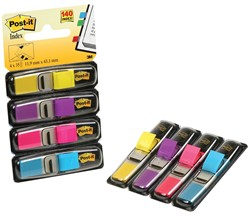 Post-it Index Smal, 4 x 35 tabs, geel, paars, roze en helderblauw