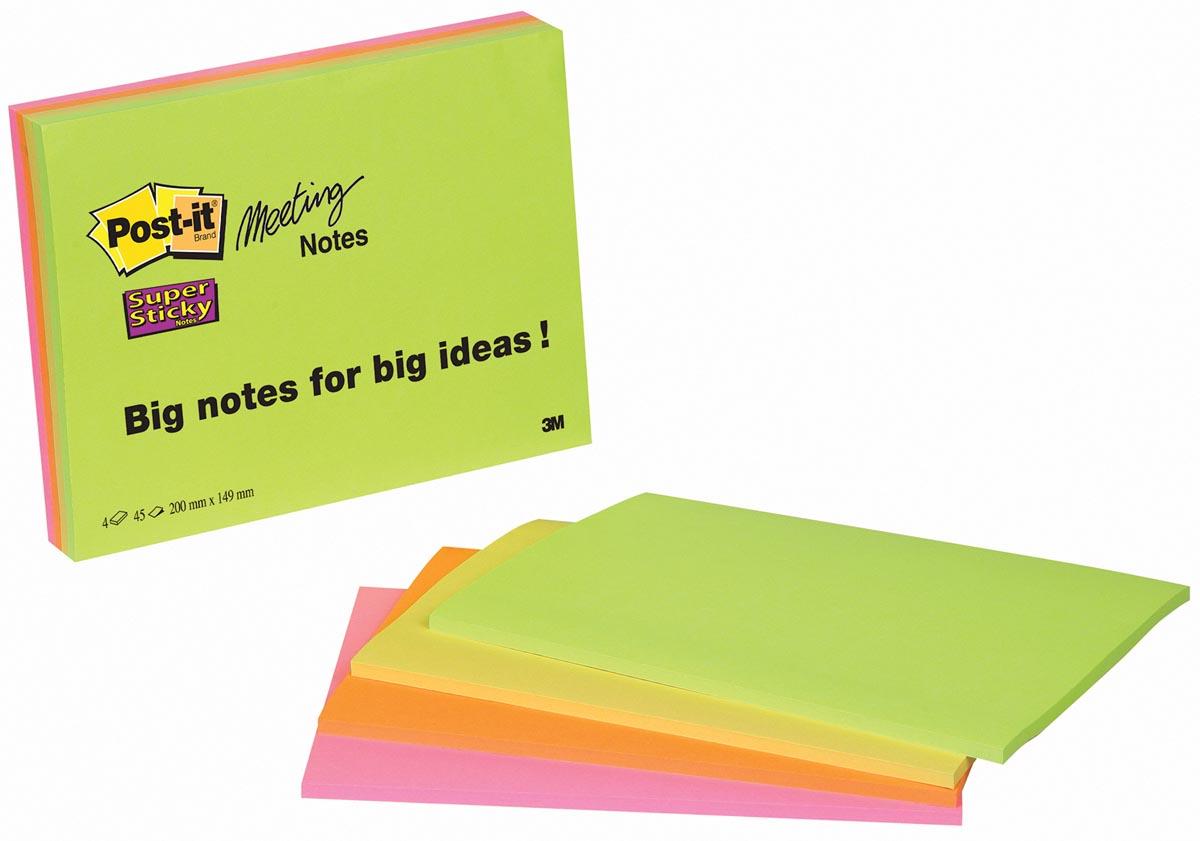 Post-it Super Sticky Meeting notes, ft 149 x 200 mm, geassorteerde kleuren , 45 vel, pak van 4 blokk