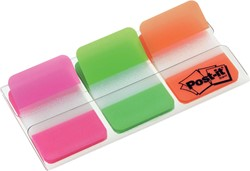 Post-it Index Strong, ft 25,4 x 38 mm, set van 3 kleuren (roze, groen en oranje), 22 tabs per kleur
