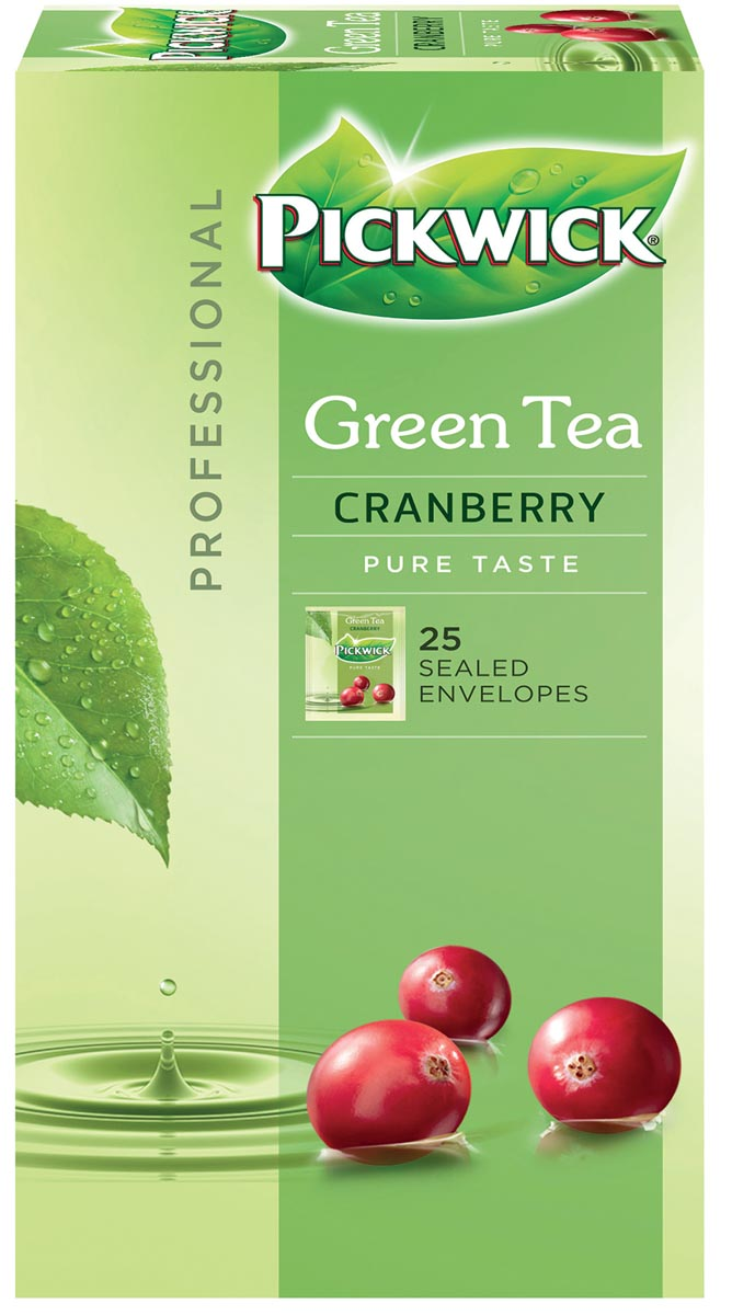 Thee Pickwick groen cranberry 25 zakjes van 1.5gr