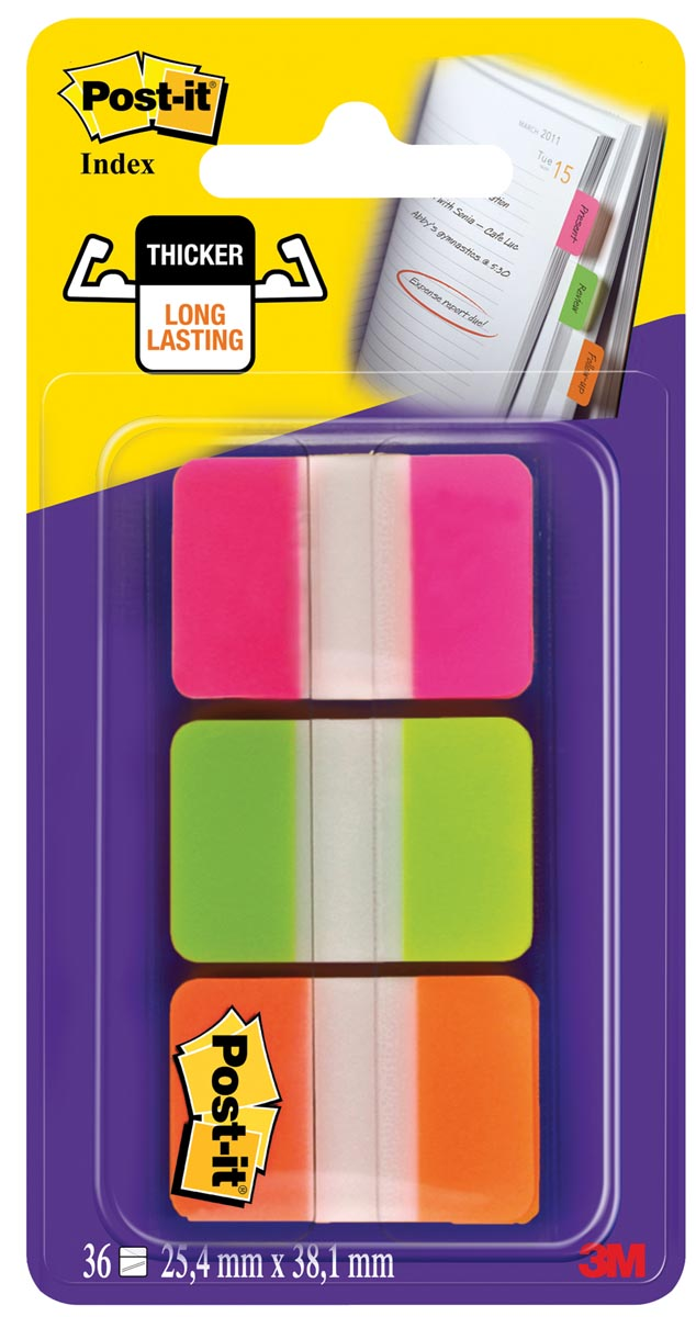Post-it Index Strong, , ft 25,4 x 38 mm, blister met 3 kleuren (roze, groen en oranje), 12 tabs per