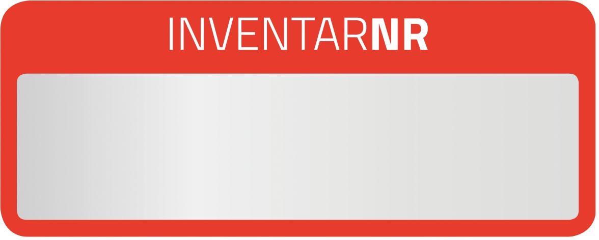 Avery inventarisetiketten, ft 50 x 20 mm, van zilver polyesterfolie met rode kader, 50 stuks, 5 per