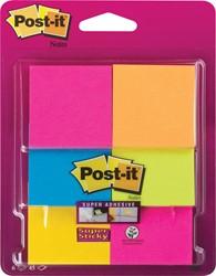 Post-it Super Sticky Notes, ft 47,6 x 47,6 mm, blister met 6 blokjes van 45 vel, geassorteerde kleuren