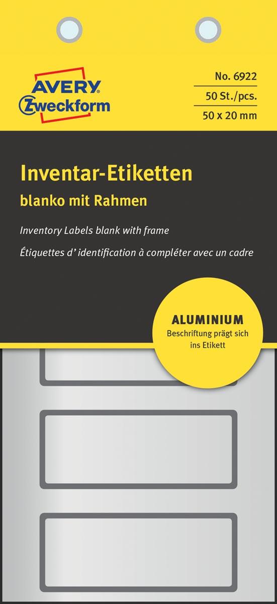 Avery inventarisetiketten, van weerbestendig aluminium met kader