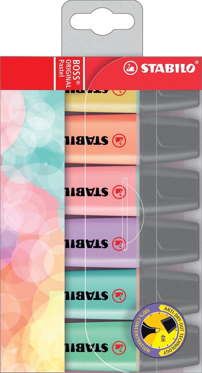STABILO BOSS ORIGINAL Pastel markeerstift, etui van 6 stuks in geassorteerde kleuren
