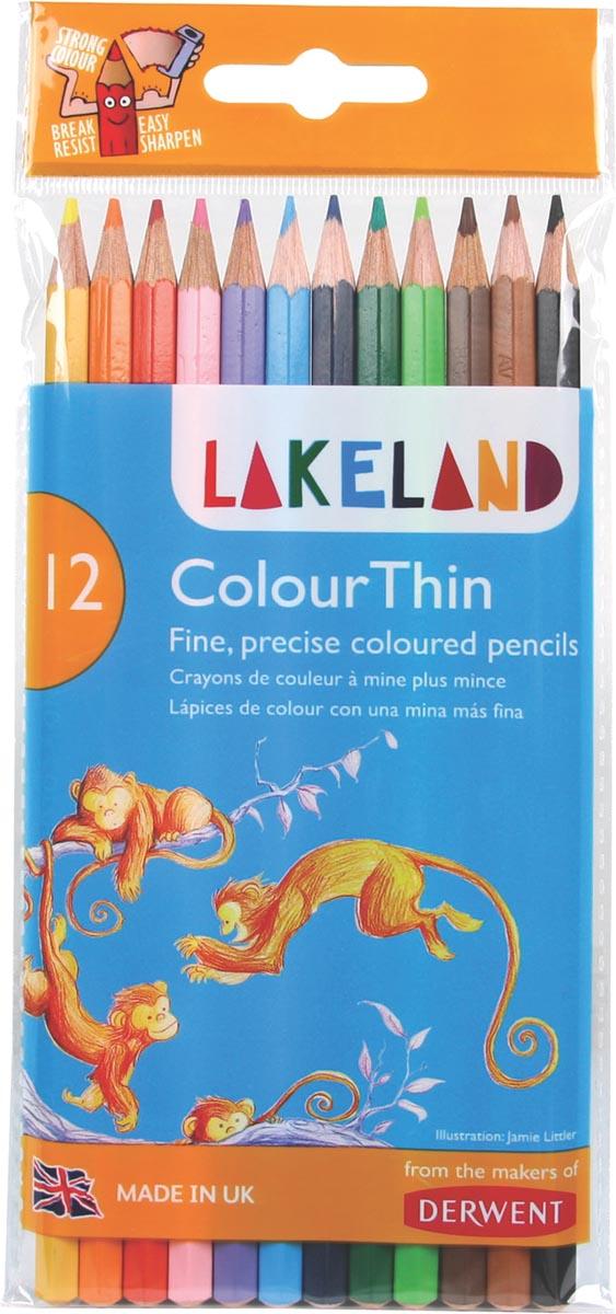 Lakeland kleurpotlood Colourthin, blister van 12 stuks in geassorteerde kleuren