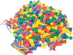 Bouhon parels, pak met 650 stuks in geassorteerde kleuren en 6 veters