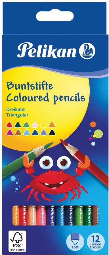Pelikan kleurpotlood driehoekig, etui van 12 stuks in geassorteerde kleuren