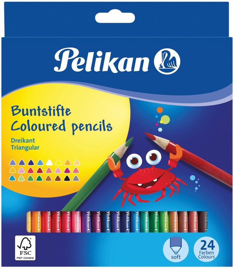 Pelikan kleurpotlood driehoekig, etui van 24 stuks in geassorteerde kleuren