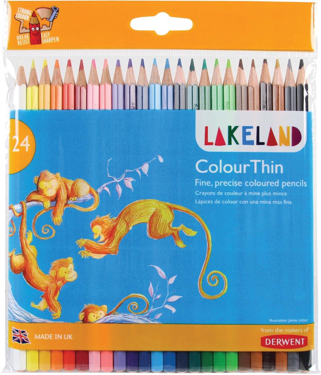 Lakeland kleurpotlood Colourthin, blister van 24 stuks in geassorteerde kleuren