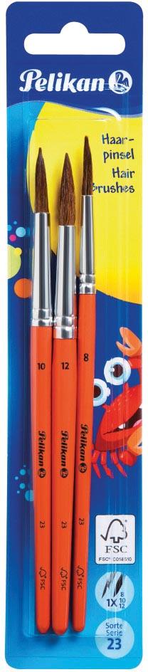 Pelikan penselenset S23, blister van 3 stuks, nr 8, 10 en 12