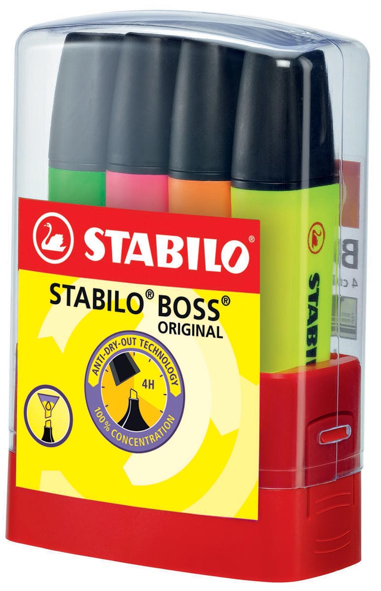 STABILO BOSS ORIGINAL markeerstift, Desk set Parade van 4 stuks in geassorteerde kleuren