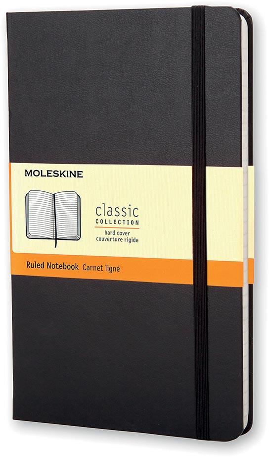 Moleskine notitieboek, ft 13 x 21 cm, gelijnd, harde cover, 192 bladzijden, zwart