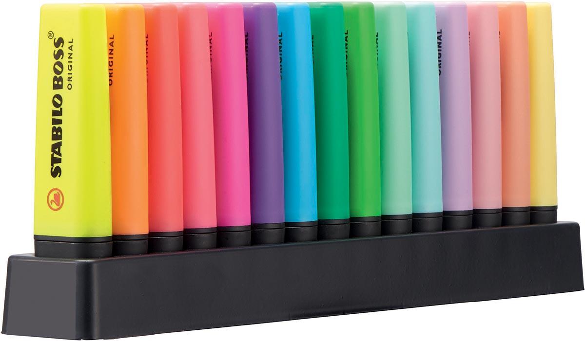 STABILO BOSS ORIGINAL Pastel markeerstift, deskset van 15 stuks in geassorteerde kleuren
