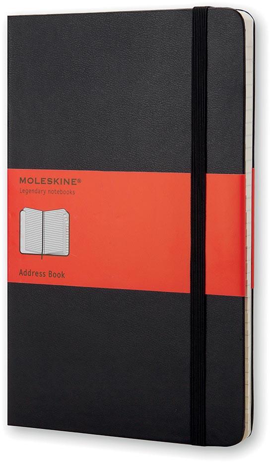 Moleskine adresboek, ft 13 x 21 cm, gelijnd, harde cover, 192 bladzijden, zwart