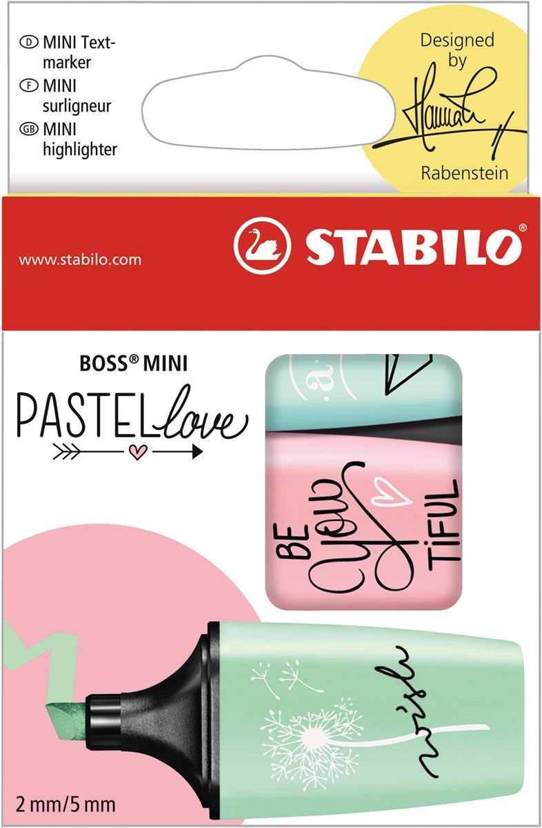 STABILO BOSS MINI Pastellove markeerstift, doosje van 3 stuks in geassorteerde pastelkleuren