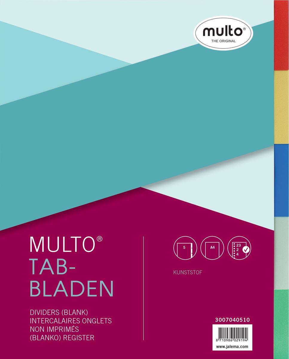 Multo tabbladen, voor ft A4, 23-gaatsperforatie, uit kunststof, 5 tabs, geassorteerde kleuren