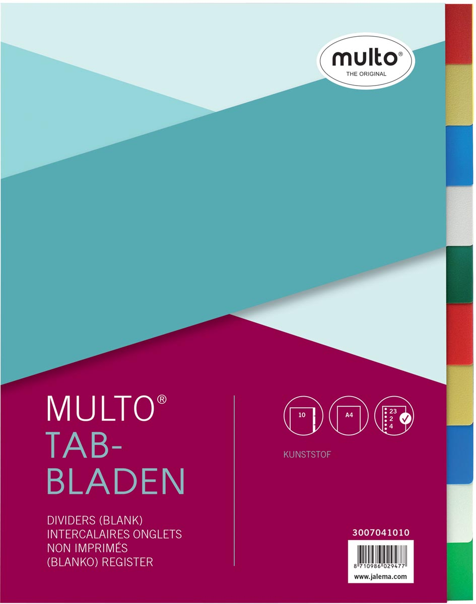 Multo tabbladen voor ft A4, 23-gaatsperforatie, 10-delig, geassorteerde kleuren