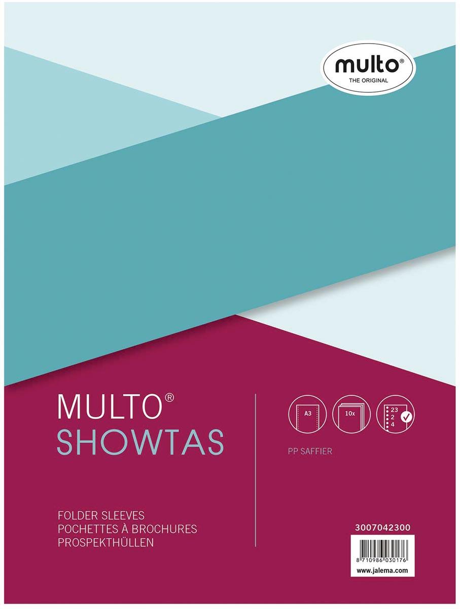 Multo geperforeerde showtas ft A3, 2-, 4- en 23-gaatsperforatie, 80 micron, gekorreld, pak van 10 st