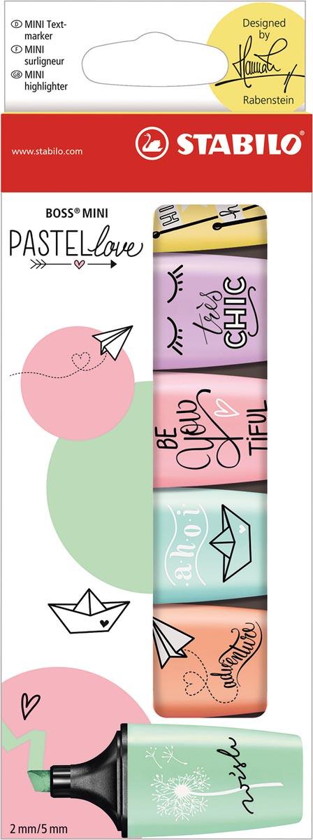 STABILO BOSS MINI Pastellove markeerstift, doosje van 6 stuks in geassorteerde pastelkleuren
