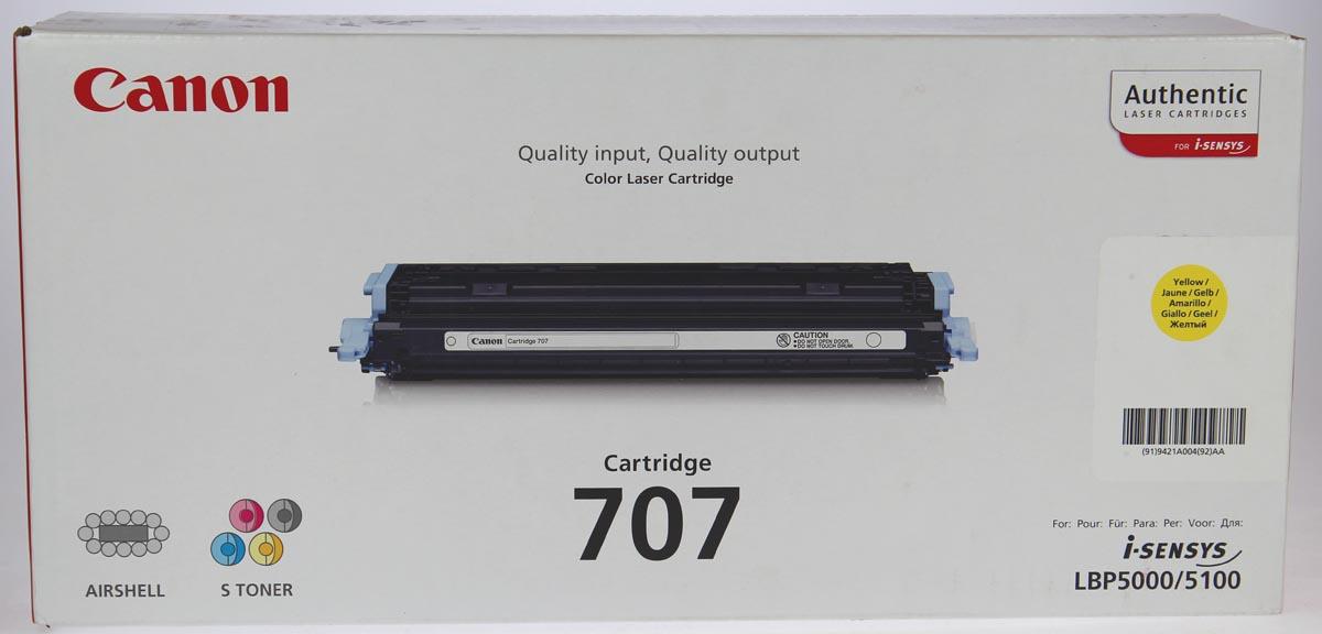 Canon toner 707Y, 2.000 pagina's, OEM 9421A004, geel