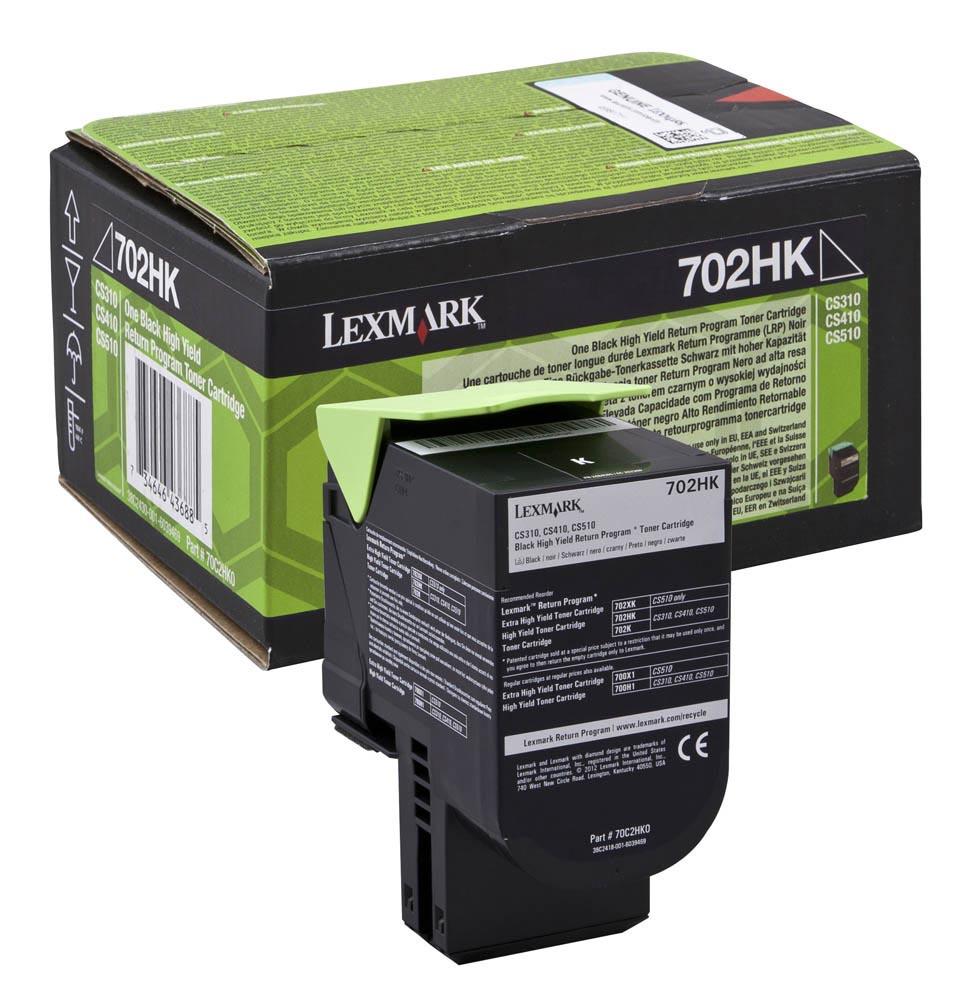 Lexmark toner zwart return program 702HK, 4000 pagina's - OEM: 70C2HK0