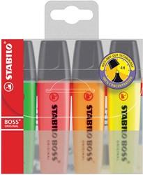 Markeerstift Stabilo Boss Original etui van 4 stuks: geel, groen, oranje en roze